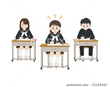課堂場景跟不上課堂的學生不懂插圖的學生 74294407