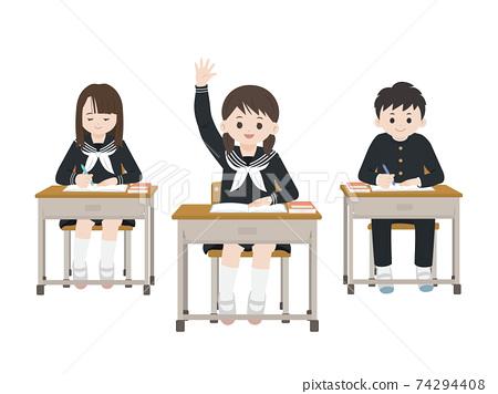 課堂場景學習學習舉手學生插圖素材 74294408