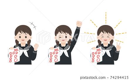 測試100分學生女學生快樂插畫素材 74294415