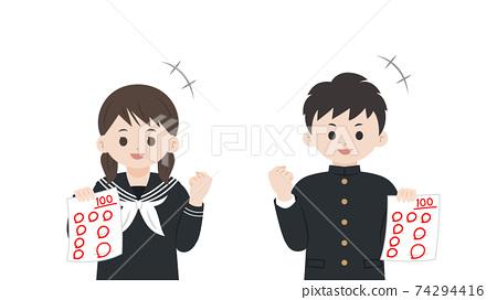 考試獲得100分的學生,男人和女人,快樂的插圖素材 74294416