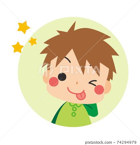 테헤뻬로하고 얼버무 리려있는 차 눈에 귀여운 작은 소년 아이콘 일러스트 원 74294979
