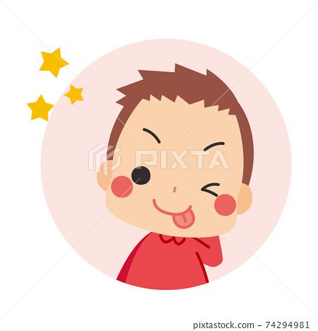 테헤뻬로하고 얼버무 리려있는 차 눈에 귀여운 작은 소년 아이콘 일러스트 원 74294981