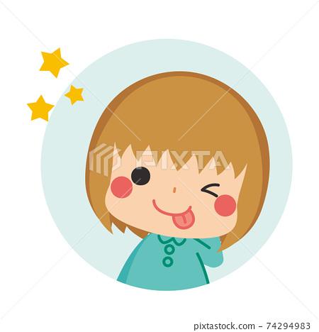 테헤뻬로하고 얼버무 리려있는 차 눈에 귀여운 어린 소녀 아이콘 일러스트 원 74294983