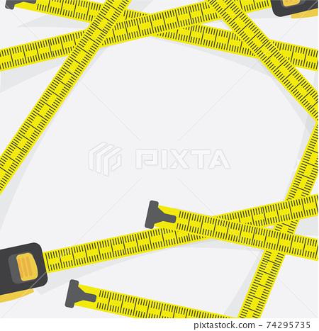 Tape Measure Multiple On White Background Vector Illustration. 74295735