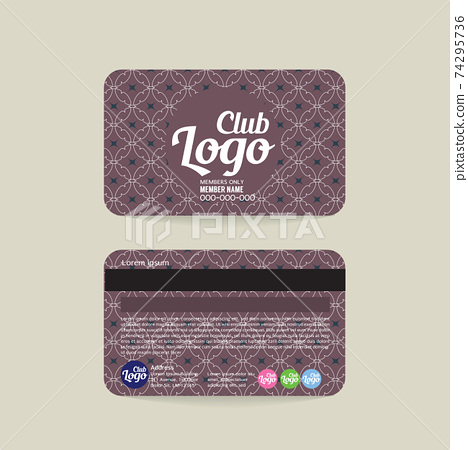 Front And Back Club Member Card Vintage Template Vector Illustration. 74295736