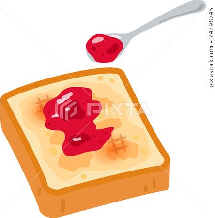 湯匙烤麵包和果醬 74298745