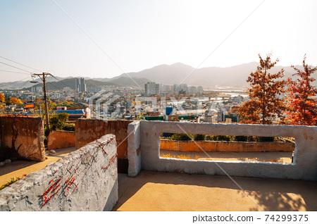 Panoramic view of Miryang city from Moonlight Ssamji park at autumn in Miryang, Korea 74299375
