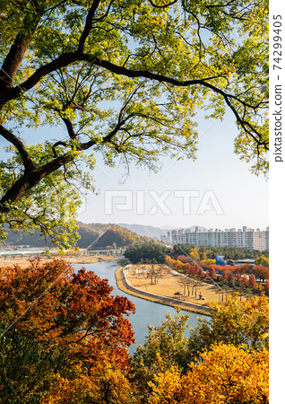 Panoramic view of Miryang city and river at autumn in Miryang, Korea 74299405