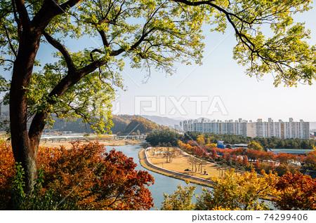 Panoramic view of Miryang city and river at autumn in Miryang, Korea 74299406