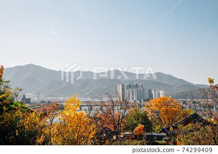 Panoramic view of Miryang city and river at autumn in Miryang, Korea 74299409