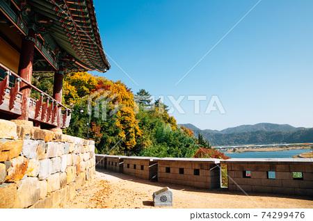 Yeongnamnu pavilion and view of Miryang river at autumn in Miryang, Korea 74299476