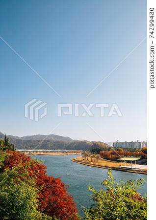 Panoramic view of Miryang river and mountain at autumn in Miryang, Korea 74299480
