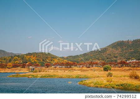 Miryang river and mountain at autumn in Miryang, Korea 74299512