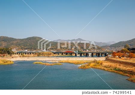 Miryang river and mountain at autumn in Miryang, Korea 74299541