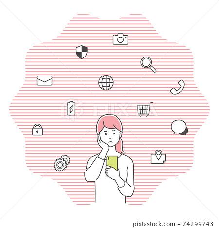 智能手機與圖標/ 3色混淆的年輕女人 74299743