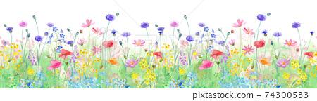 各種各樣的花盛開春天領域的水彩例證。水平的無縫模式。全景圖。 74300533