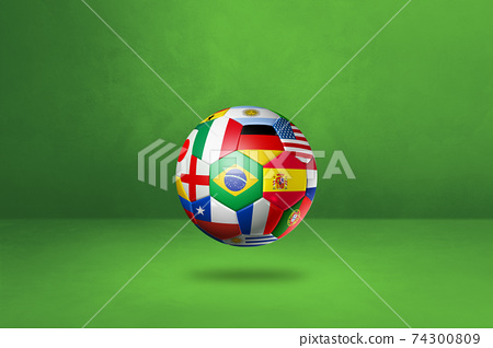 Football soccer ball with national flags on a green studio background 74300809