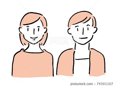兩個微笑的男人和女人 74301107