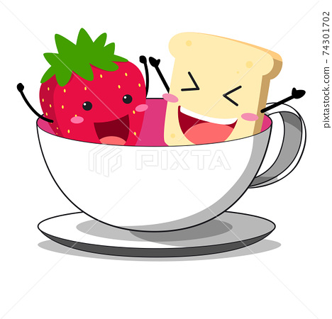 Bread and strawberry playing in a glass of tea 74301702