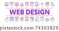 Web Design Development Minimal Infographic Banner Vector 74303829