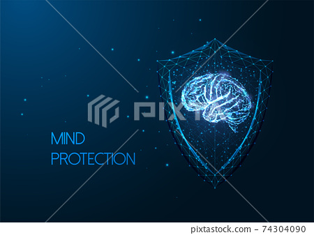 Futuristic mental health concept with gloving low polygonal human brain and protective shield 74304090