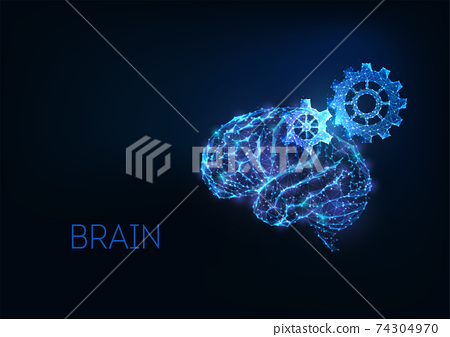 Futuristic brainstorm, creative thinking concept with gloving low polygonal human brain and gears 74304970
