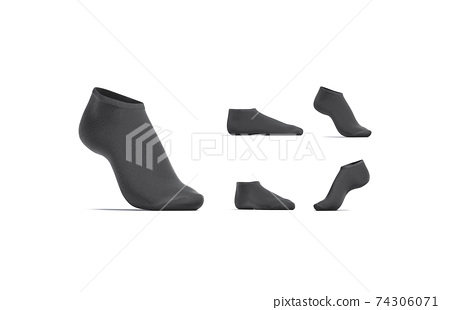 Blank black low cut socks mockup stand, different views 74306071