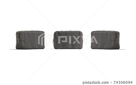 Blank black cosmetic bag mockup, front and side view 74306094