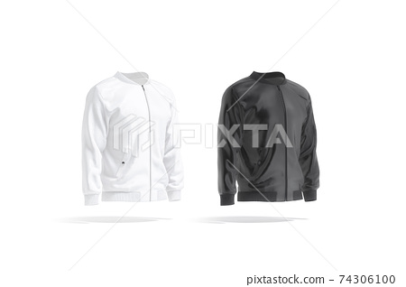Blank black and white bomber jacket mock up, side view 74306100