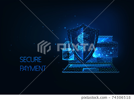 Futuristic secure payment, online banking concept with laptop, sheld, lock, credit card and dollar 74306518