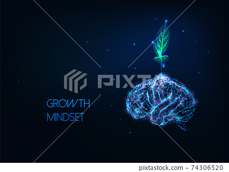 Futuristic growing mindset concept with glowing low polygonal green plant growing from human brain 74306520