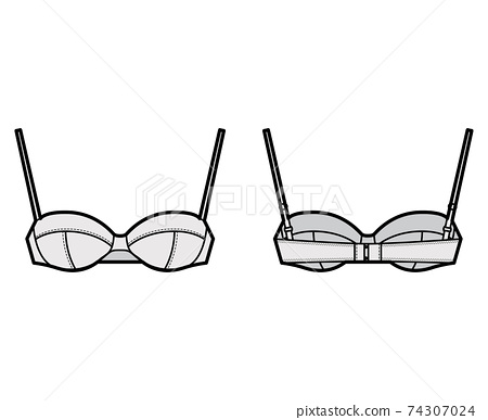 Balconette bra lingerie technical fashion illustration with full adjustable shoulder straps, cups, hook-and-eye closure 74307024