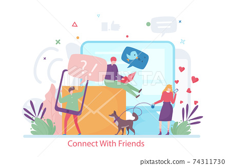 Concept of Connect with Friends, flat design vector illustration 74311730