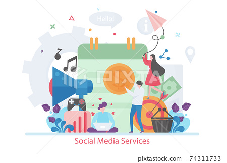 Concept of Social Media Services concept, modern flat vector illustration 74311733