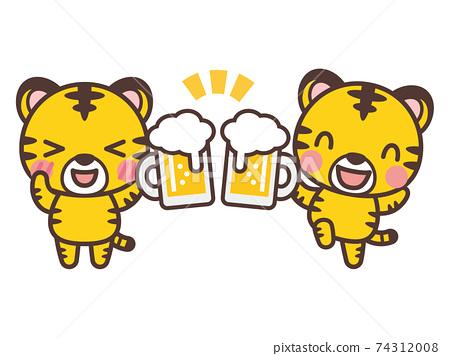 可愛的老虎性格與啤酒敬酒 74312008