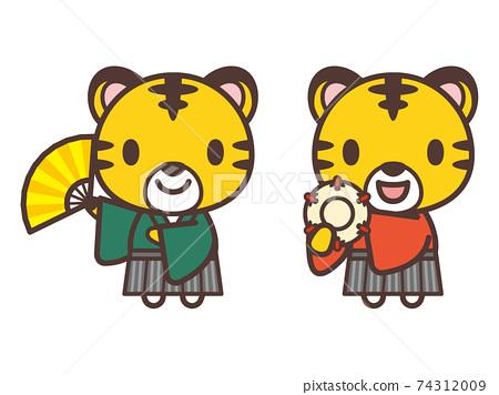 可愛的老虎人物日本傳統表演藝術 74312009