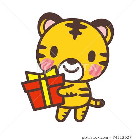 拿著禮物的可愛老虎角色 74312027