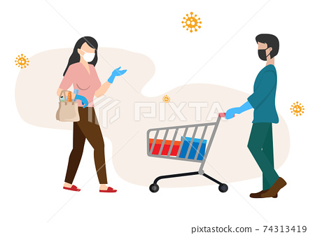 Food shopping is safe. Men and women wearing gloves mask Preventive measures under the conditions of coronavirus, illness prevention Flat vector illustration isolated on white background 74313419