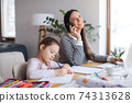 Mother with school girl indoors at home, distance learning and home office. 74313628