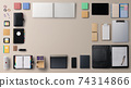 Flat lay top view office desk working space office supplies on light background. Copy space. 74314866