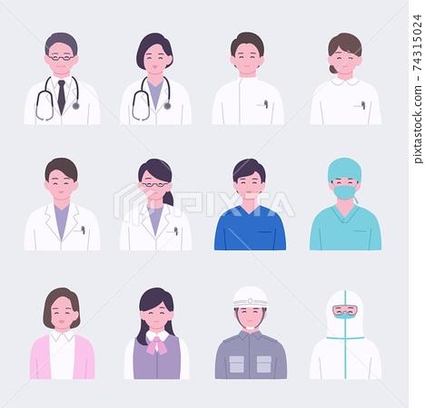 簡單的臉圖標集為醫療保健專業人員的微笑 74315024