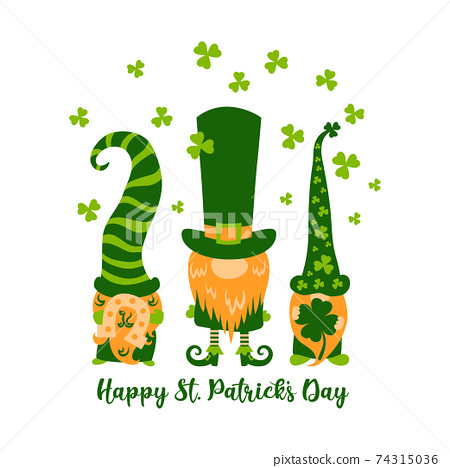 Happy St Patricks Day greeting card with three cute greeb gnomes or leprechauns and shamrocks, 74315036