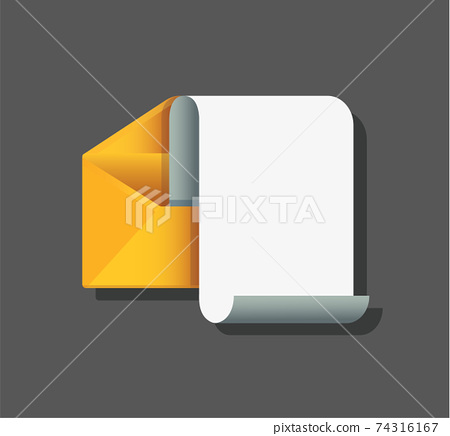 envelope with note paper card. mail message concept. Vector illustration 74316167
