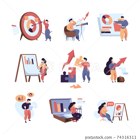 Business characters. Abstract metaphores with business persons dialogues people planning marketing goals making decision solving 74316311