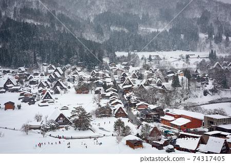Shirakawago, Japan Winter Village 74317405