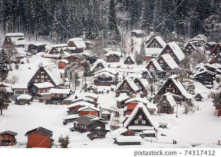 Shirakawago, Japan Winter Village 74317412