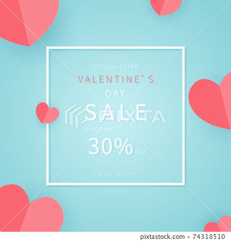 Happy Valentine's Day Sale banner. Holiday background with border frame, origami hearts. Trendy design template for advertisement, social media, business, fashion ads, etc.  74318510