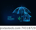Futuristic home insurance concept with glowing low polygonal house and protective umbrella 74318729