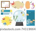 海洋生物和夏天圖像的可愛備忘錄和氣球插圖 74319664