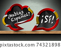 Hablas Espanol and Si - Two Speech Bubbles on Wooden Shelf 74321898